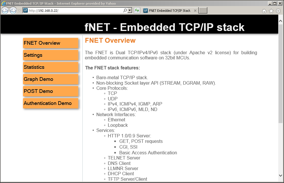 Embedded TCP/IP stack: FNET Shell Demo Quick Start